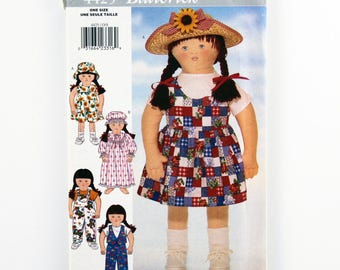 Vintage Butterick Pattern 4425 My Little Sister Doll Clothes, 35-inch Doll Clothes, Nightgown, Hat, Dress, Jumpsuit, Vest, Pants, Jumper