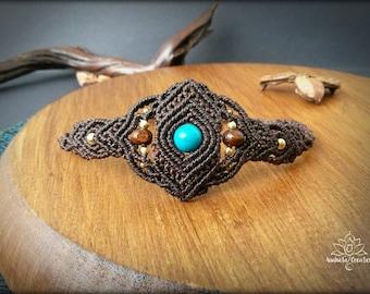 Chrysocolla macrame bracelet. Bohemian jewelry. Boho chic. Gemstone jewelry.Chrysocolla bracelet. Hippie jewelry. Unique design.
