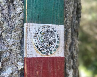 Rustic Mexican Wood Flag, Mexico Flag Wall Art, Reclaimed Wood Mexican Flag, Rustic Mexican Wood Flag, Distressed Wood Flag of Mexico