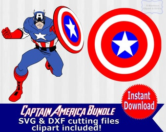Captain America SVG, Captain America Digital Clip Art, superhero svg, PNG Files, SVG Files for Silhouette Cameo, Scrapbook, avengers svg,dxf