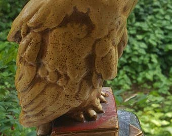Chic Vintage Bronze Owl Stands on Books Art Statue Sculpture Heavy