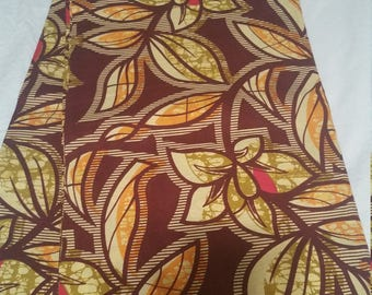Brown & Yellow leaf motif Wax Print/African Print/ Ankara