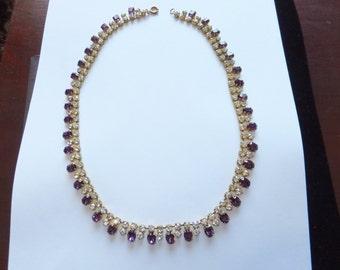 Gorgeous vintage 1950s purple diamante necklace