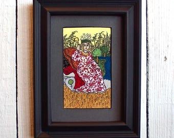 The Empress, Fabric Tarot Card Art, 3x5 inch, matted, unframed, mixed media, made to order