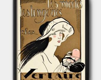 Verlaine ad · 1920s · Instant Download · Fashion · Vintage · Paris · Printable #122