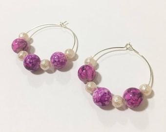 FUNKY PINK handmade hoop earrings