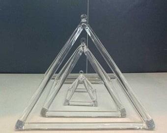 """Chakra tuned Crystal Singing Pyramids, 3""""-12"""""""
