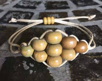 "Women's Hemp Bracelet With Wood Beads - ""Wood"" Ya Rather... -"