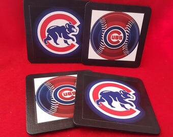 4 piece coaster set Chicago Cubs