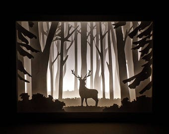 Paper Cut Silhouette Light Box - Deer in the Woods