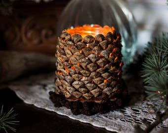 """Candle holder """"Cone of light"""" and its crown - pine cone and hemp - light - candle holder - nature"""