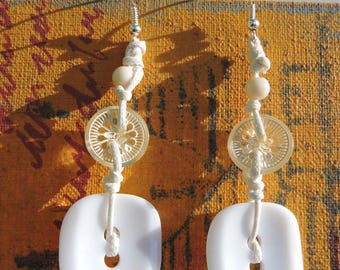 Earrings white, button, transparent white, material recycle