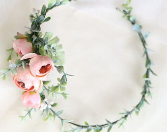 Mia Silk Flower Ranunculus Peony Silk Flower Crown and Hair Comb // Hair Vein // Wedding / Prom / Bridesmaids / Flower girl / Coachella