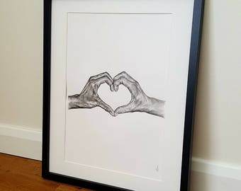 Engagement gift, anniversary gift, gift for couples. Hands making heart, hand drawn illustration. Hands. Heart.
