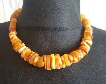 Authentic Natural Baltic Amber Roygal White, Butterscotch  Amber Bernstein Necklace Lithuania, beads 4-25mm, 49 g