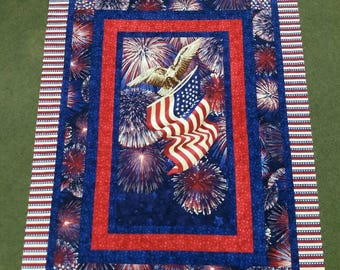 Red white blue eagle panel with 6 borders quilt top