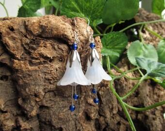 Fantasy fairy flower earrings blue