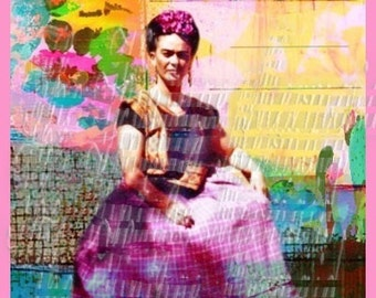 Quilting Cotton Fabric Art BLock Frida Kahlo Mixed Media Collage Quilt Square Crafting FK104