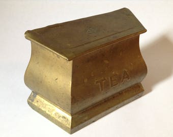 Vintage Tea Tin, Brass - Kitchen Canister
