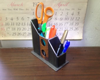 Welded steel desk organizer, pen holder, storage, steel, metal, industrial