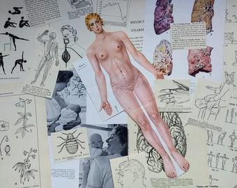 Medical Ephemera Vintage 1960's Scraps Grab Bag for Scrapbooking, Junk Journalling, Collage, Decoupage