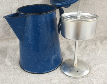 Blue enamel percolator coffeepot