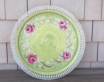 Vintage green and pink floral metal tray