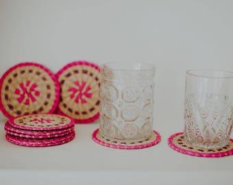 Vintage Woven Coasters/ Set of 6 Coasters/ Boho Coasters/ Trivets