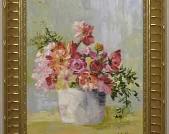 Original floral still life, Pastel Petals - acrylic impressionist painting, flowers,  pinks, blues, soft colors
