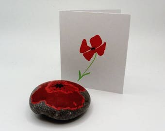 hand painted poppy pebble