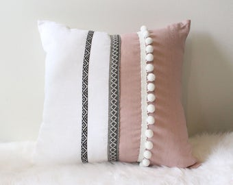 Handmade Musk and White Linen with trim details 45cm x45cm cushion cover