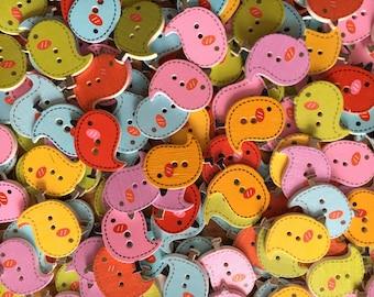 20 bird buttons, craft buttons, wooden bird buttons, wooden buttons