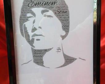 Eminem word art framed