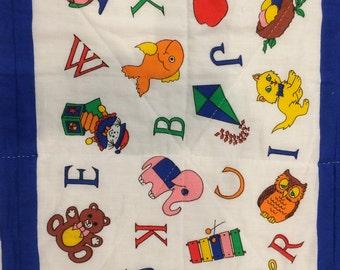 Alphabet Quilt / baby quilt / preschool banner / child quilt / alphabet theme