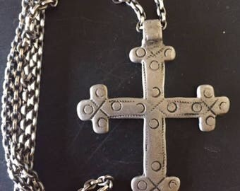 Vintage Ethiopian Coptic Cross, Old Silver Cross, African Religious Cross, Antique Cross Pendant, Ethnic Coptic Cross, Handmade Vintage Cros