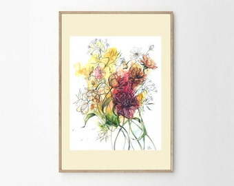 Original watercolor painting / Sigh of summer / Watercolor flowers / Bright wall art / Home decoration