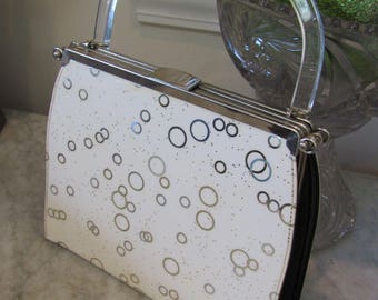 Vintage 1950s ATOMIC~ GLITTER Mid-Century Modern CONVERTIBLE Handbag *3 In 1 With Lucite Handle