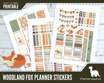 Woodland fox planner sticker printable | woodland instant download | Happy Planner Classic printables | Woodland foxes weekly planner label