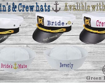 Personalized Captains hats- Birthday- Christmas, Gift-Event- Bridal- Bachelorette- Let's Get Nauti, Last Sail before the Veil