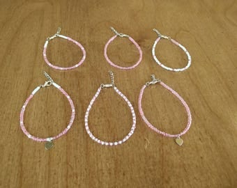 Pink and white single layer seed bead bracelet