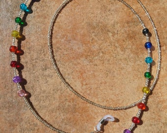 Eyeglass chain necklace multicolor Crackle Glass chain strap holder goggle glasses gift idea
