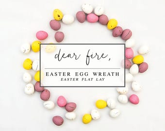 Easter Egg Wreath Flat Lay Stock Photo