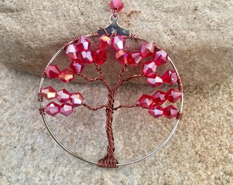 Red Tree Pendant Necklace