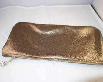 "Bronze Shimmer Leather 10 1/2 "" Wide x 5 "" Tall"