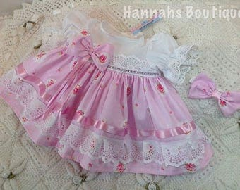 Hannahs Boutique early baby pink frilly dress and headband set. Free p&p