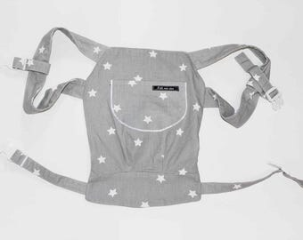 Doll carrier / doll backpack star grey