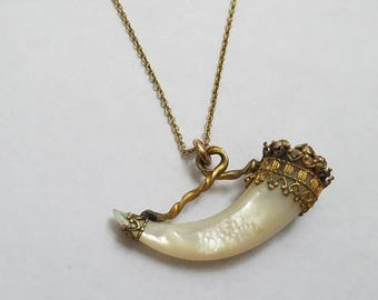 Victorian Mother of Pearl Horn Pendant Necklace