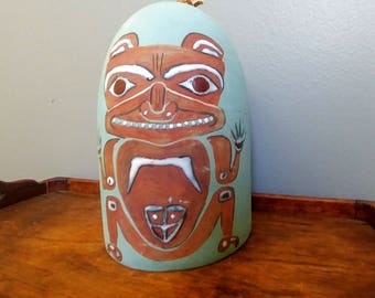 Vintage Bear Totem Clay Wind Chime // Native American Art Collectible Bell