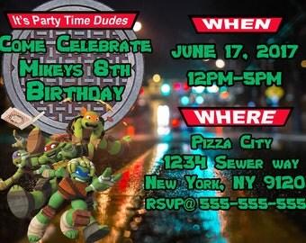 Teenage Mutant Ninja Turtles Birthday Party Invites
