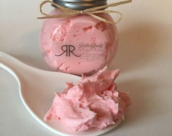 Strawberry lemonade - whipped body butter - natural, organic ingredients - thick, creamy body lotion - free shipping